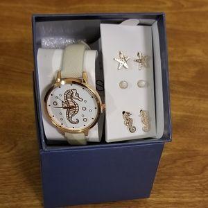NIOB Women's Seahorse Watch & Earring Gift Set